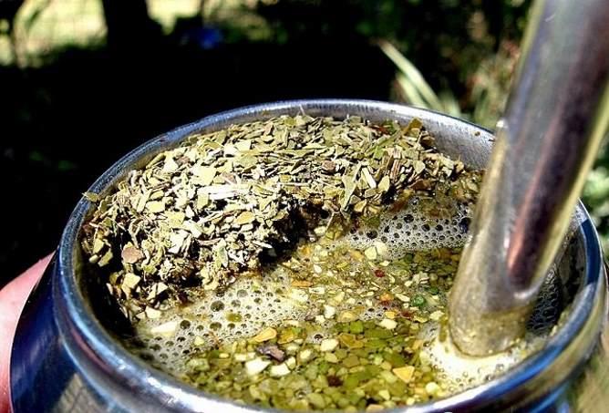 Заваренный чай мате